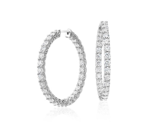 18K White Gold Prong Set Diamond Inside-Out Hoops