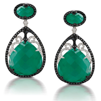 18kw Green Agate & Diamond Earrings