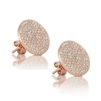 18kr Round Pave Earring