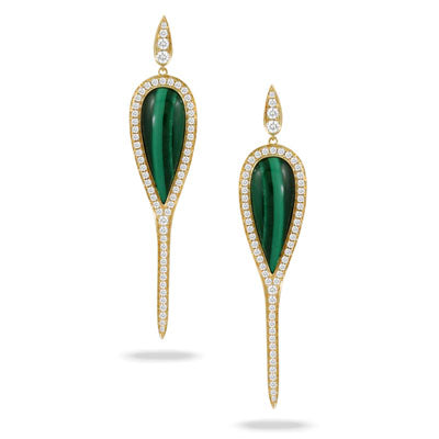 Malachite & Diamond Earrings