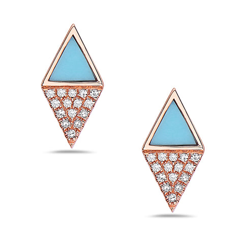 Diamond & Turquoise Stud Earrings