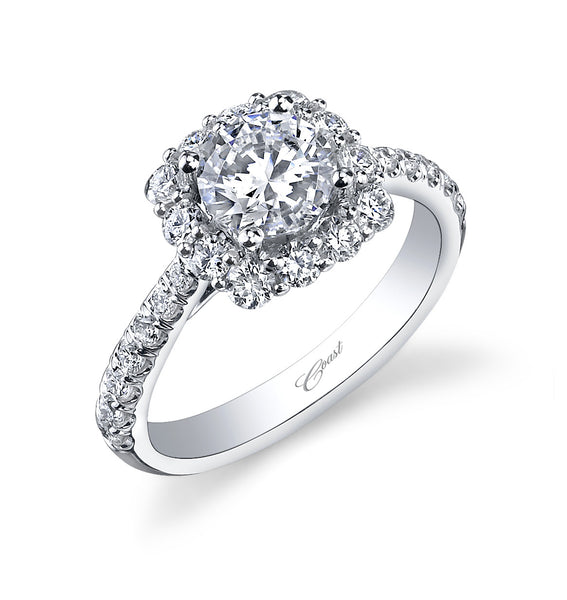 Coast Diamond Platinum And Round Brilliant Cut Cushion Halo Ring