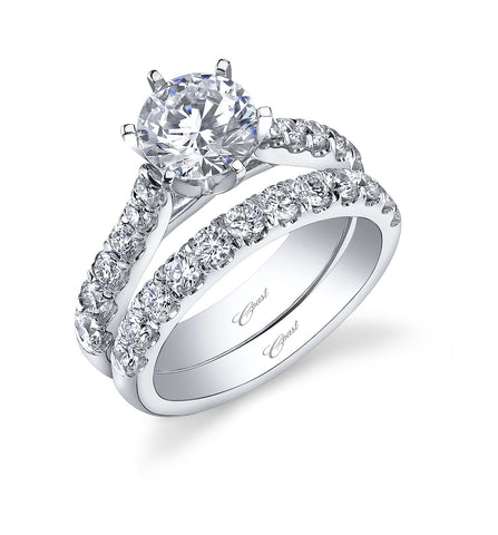 Platinum And Diamond Six Prong Solitaire Fishtail Mounting With Matching Diamond Band
