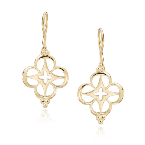 18ky Small Compass Rose Earrings