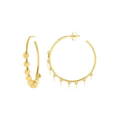 14k Gold Disc Hoop Earring