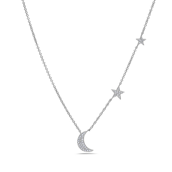 Moon & Star Diamond Pendant