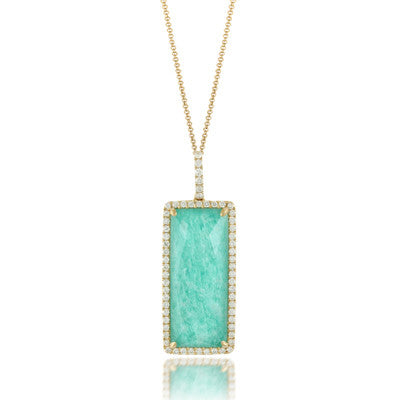 Doves by Doron Paloma 18ky Amazonite & Diamond Pendant
