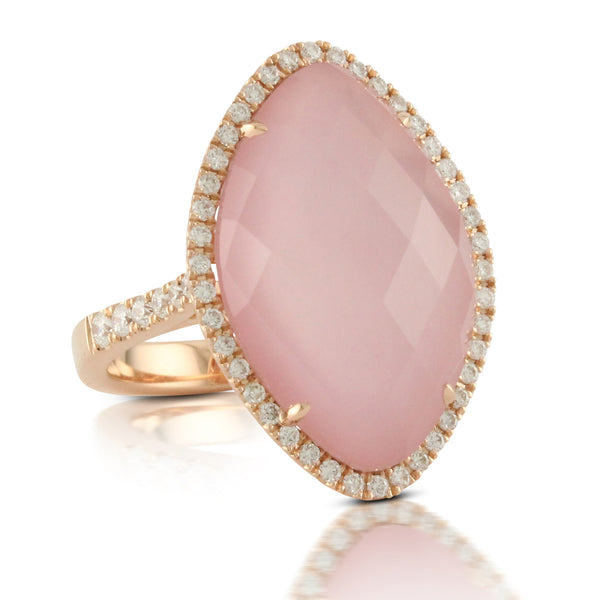 Doves 18kw Pink Quartz & Mother of Pearl Ring