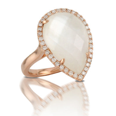 Doves 18ky Mother of Pearl & Diamond Ring
