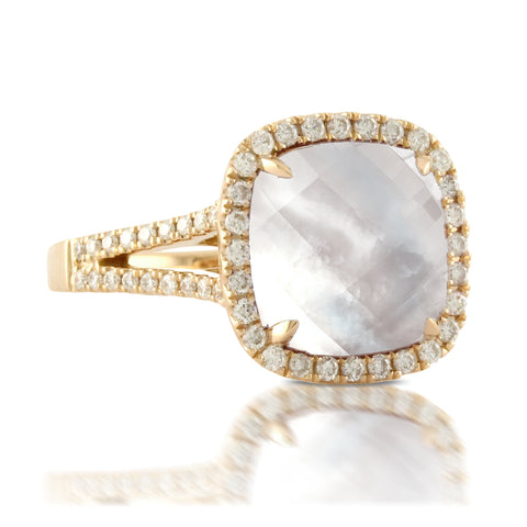 Doves 18ky Mother of Pearl & White Topaz Ring