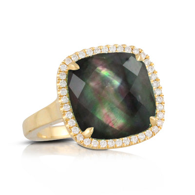 Black Mother of Pearl & Diamond Ring