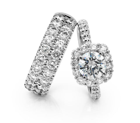 Coast Diamond Platinum Fishtail Mounting With Matching Diamond Band