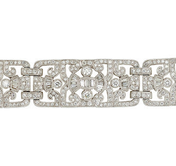 18K White Gold Vintage Style Diamond Bracelet