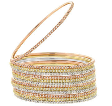 14K White, Yellow And Pink Gold Diamond Eternity Bangles