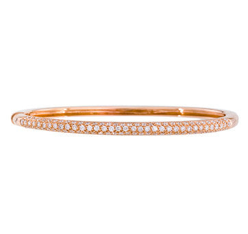 18K Pink Gold Diamond Pave Bangle