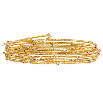 18K Yellow Gold Hammered Bangles With Diamonds