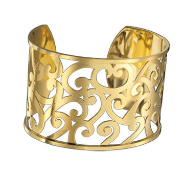 18K Yellow Gold Scroll Cuff By Mazza