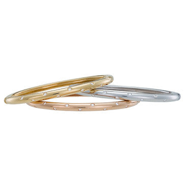 18K White, Pink And Yellow Gold Diamond Etoile Oval Bangles