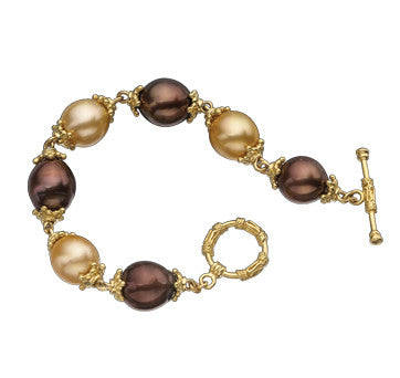 18K Yellow Gold Golden South Sea And Chocolate Pearl Bracelet With Toggle