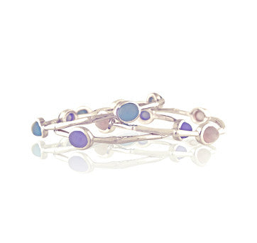 Sterling Silver Bamboo Bracelets With Aquamarine, Chalcedony And Moonstone