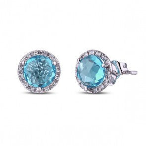 14k White Gold Blue Topaz & Diamond Stud Earrings