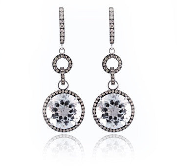 18Kw Gold Round Drop Earrings With Diamonds
