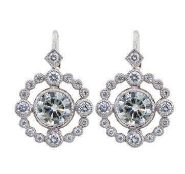 18K White Gold Round Vintage Style Diamond Drop Earrings