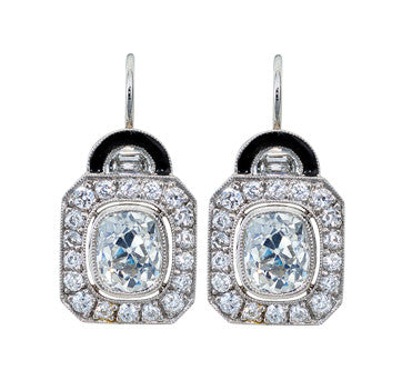 Platinum Cushion Cut Diamond Drop Earrings With Black Onyx