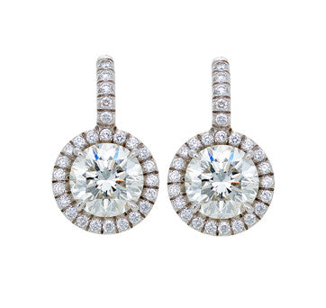 18K White Gold Round Brilliant Drop Earrings
