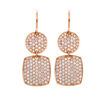 18K Pink Gold Diamond Pave Disk Drop Earrings