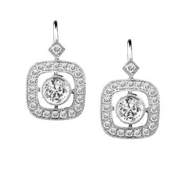 18Kw Vintage Style Diamond Drop Earrings With Eurowire