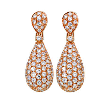 18K Pink Gold Diamond Pave Teardrop Earrings By Garavelli