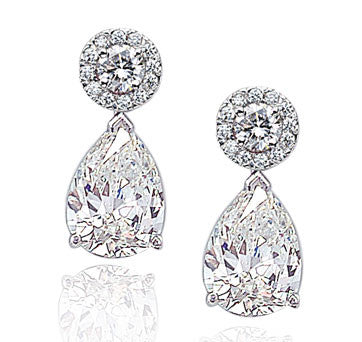 Platinum Diamond Pear Shape Drop Earrings