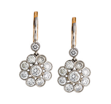 Platinum And 18K Yellow Gold Vintage Style Flower Drop Earrings