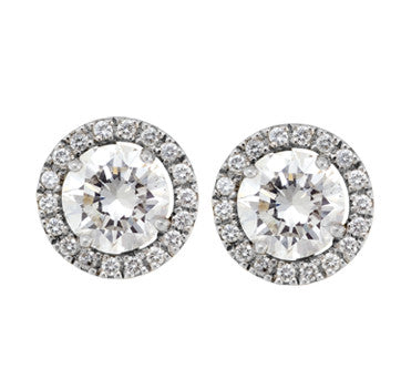 18K White Gold Diamond Stud Earrings With Permanent Diamond Jackets