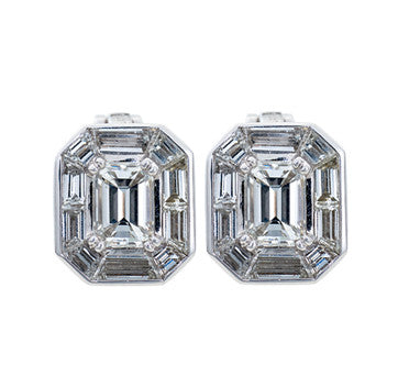 18K White Gold Diamond Emerald And Baguette Cut Stud Earrings
