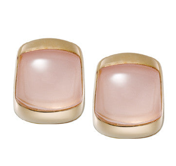 18K Pink Gold Rose Quartz Cabochon Earrings By Vaid Of Italy