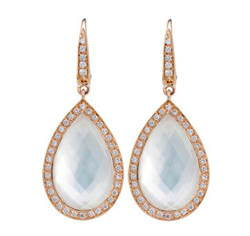 18K Pink Gold Moonstone And Diamond Tear Drop Earrings