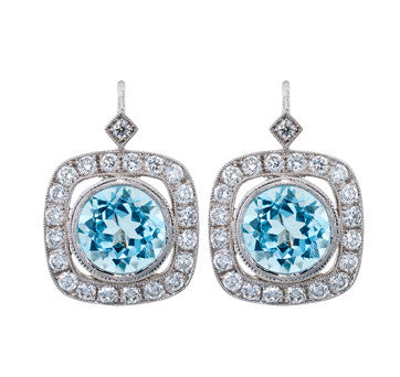 18K White Gold Diamond And Blue Topaz Drop Earrings