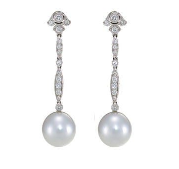 18 White Gold South Sea Diamond Drop Earrings