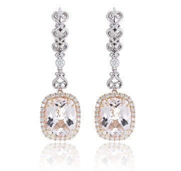 18K White And Pink Gold Morganite And Drop Earrings