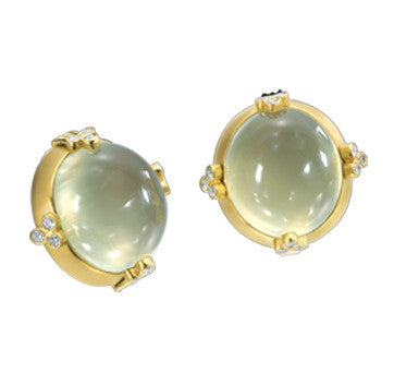 18K Yellow Brushed Gold Oval Cabochon Prasolite Earrings With Diamond Accents