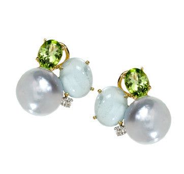 18K Yellow Gold Pearl, Aqua Marine And Peridot Cluster Earrings By Mazza