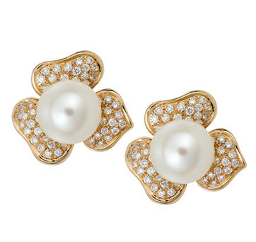 18K Pink Gold Diamond Pave Flower Earrings With South Sea Pearls By Fratelli Lani Of Italy