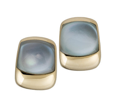 18K Yellow Gold Cabochon Blue Topaz Earrings By Vaid Of Italy
