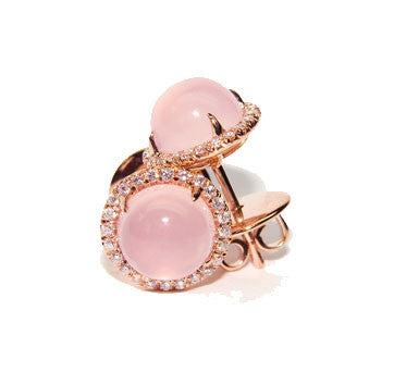 18K Pink Gold Rose Quartz Cabochon Studs Surrounded By Diamonds
