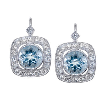 18K White Gold Aqua Marine And Diamond Drop Earrings