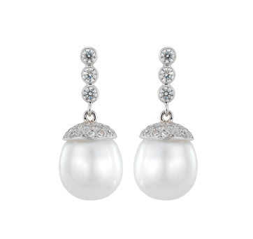 18K White Gold Diamond Cap Tahitian And South Sea Pearl Drop Earrings