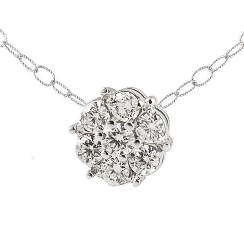 18kw Diamond Flower Necklace