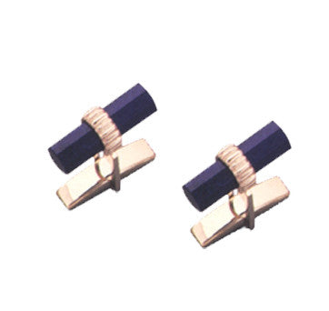 18K Yellow Gold Barrell Lapis Cufflinks